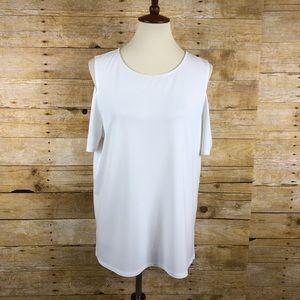 Chicos white cold shoulder blouse sz 2